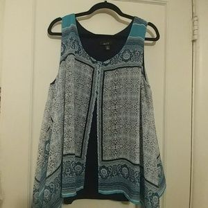 Flurty copper green lace overly blouse / tunic